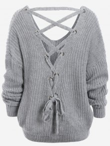 Plain SweaterBack Lace Up Drop Shoulder Sweater