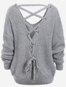 Plain SweaterBack Lace Up Drop Shoulder Sweater