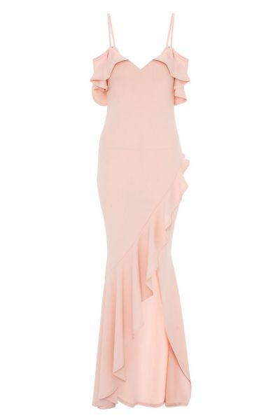 vestido-largo-color-melocotón-con-volantes-00100013427